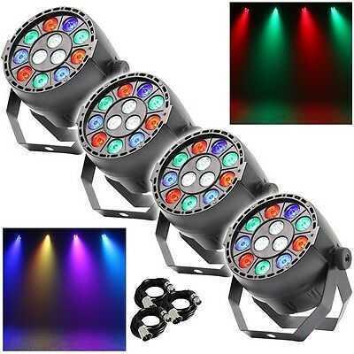 4x Equinox MicroPar RGBW DEL DJ Disco Parcan Lighting Effect inc FREE DMX Cables