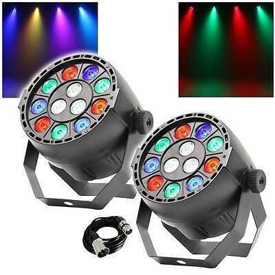 2x Equinox MicroPar RGBW DEL DJ Disco Parcan Lighting Effect with DMX Cable