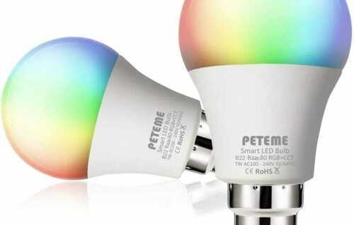 Peteme Smart LED RGB Bayonet WiFi B22 Bulb Dimmable Multicolor Light 2pack