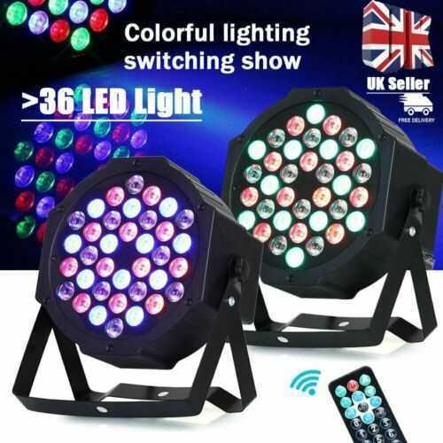 2PCS 36 Par LED Stage Light Lamp Sound Active RGB Disco XMAS Party Club Home UK