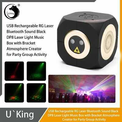 Black Rechargeable RG Laser Bluetooth Sound DP8 Laser Light Music Box+Bracket