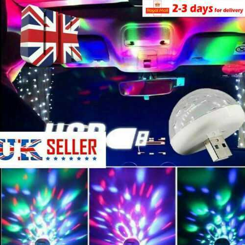 2x Mini RGB USB  LED Stage Lamp Remote Controls Disco Ball Lights Home Car Party