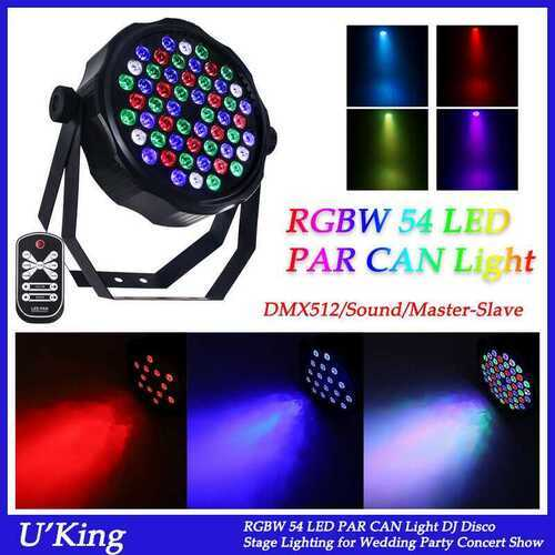 54 LED RGBW Stage 54W Light Flat Par Lamp DMX512 Club DJ Party Disco Lighting