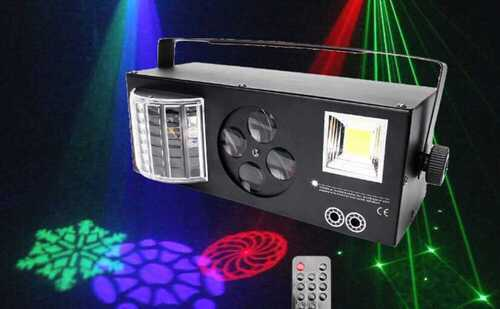 Laser Projector Pattern Stage Lighting 4 in 1 LED DMX RGBW Gobos Strobe DJ Disco