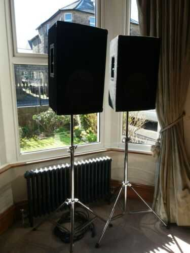 Pair Mobile DJ PA Speakers With Stands and speakon leads no reserve 99p start